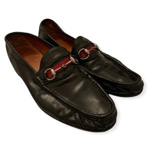Gucci black leather horsebit loafers shoes men's size 10 D made in Italy slip on